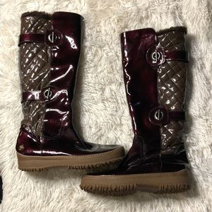 Aquatalia candy apple and brown winter boots